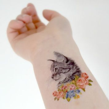 Cat In Flowers Temporary Tattoo Ink Kitten Colourful Woodland Roses Vintage Temporary Tattoo Ink Cat Portrait Tattoos Inspirational Tattoos