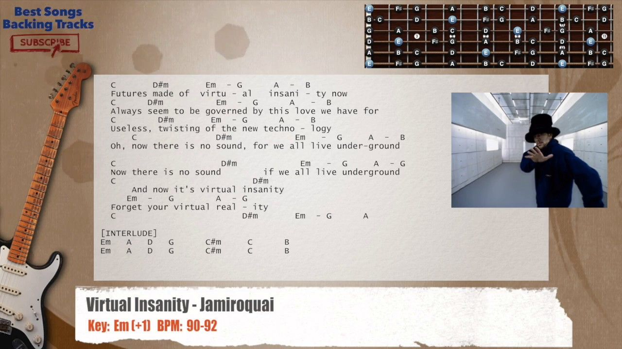 Virtual Insanity Jamiroquai Guitar Backing Track With Chords And