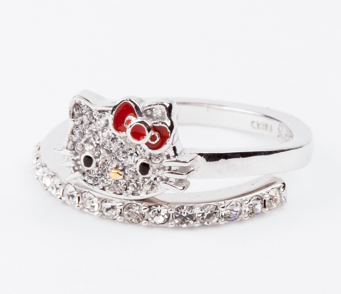 Hello Kitty Wrap Ring Crystals: Red Bow