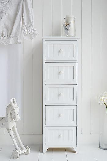 Beau The Maine 5 Drawer White Bedroom Storage Furniture Chest Of Drawers For Slim  Storage