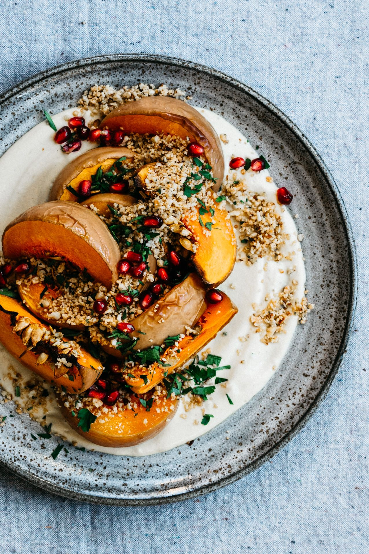 Roasted Squash with Creamy Miso Garlic Sauce and T