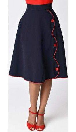 58a74c4022 Steady Navy Blue High Waist Button Parade Skirt | kids clothes diy ...
