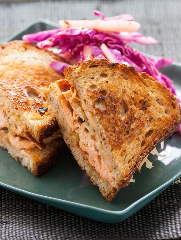 Salmon Pastrami on Rye with Red Cabbage & Green Apple Slaw ...