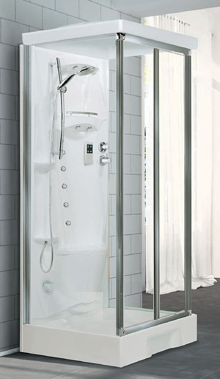 1000mm X 800mm Mid Wall Shower Enclosure Pod Leak Free All In One Shower Pod With Bi Fold Door Shower Pods Bifold Doors Shower Enclosure