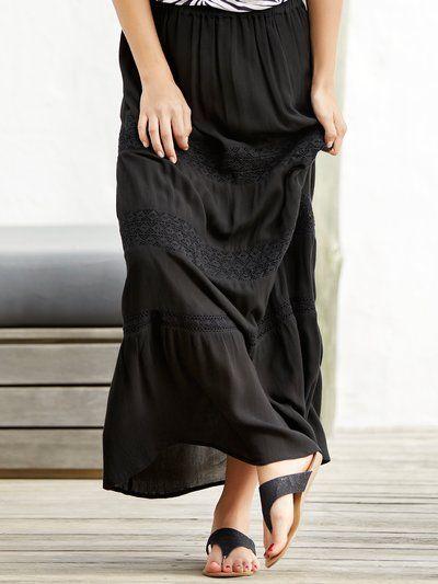 Lace trim maxi skirt