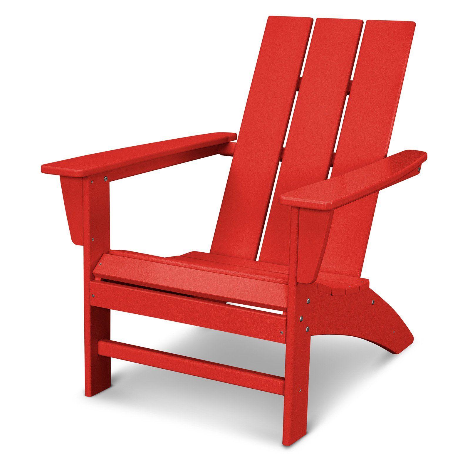 Polywooda Modern Outdoor Adirondack Chair Sunset Red Modern