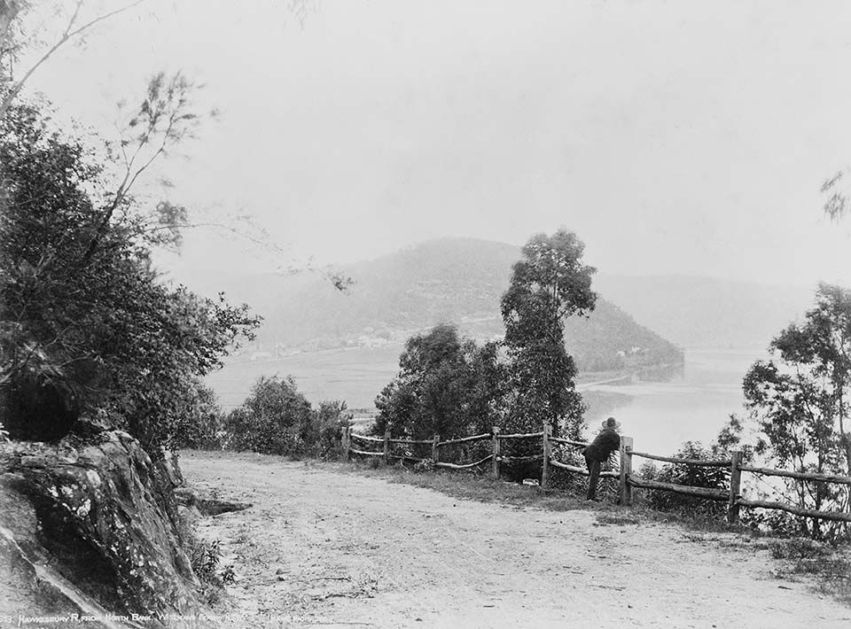 Old Great North Road,Wisemans Ferry in background 1890