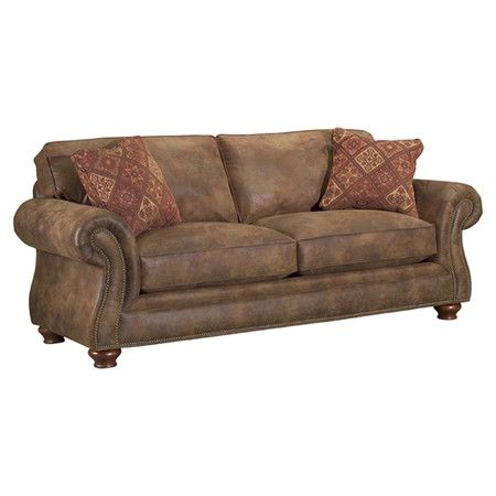Faux Leather Upholstered Sofa With Rolled Arms Nailhead Trim And Bun Feet