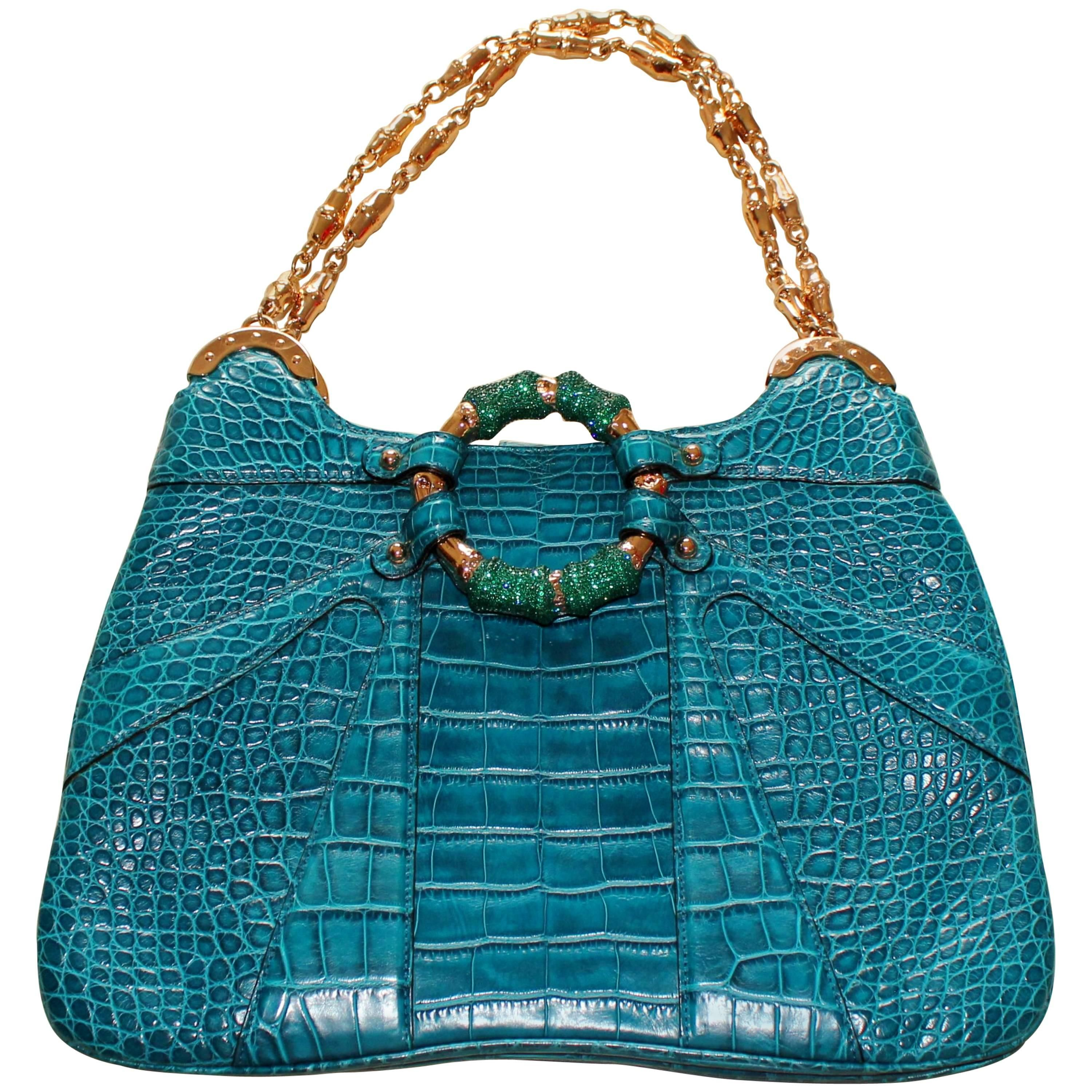 56f248a141f6 Gucci AquaTurquoise Exotic Crocodile Alligator Crystallized Bamboo Handbag  Purse For Sale at 1stdibs