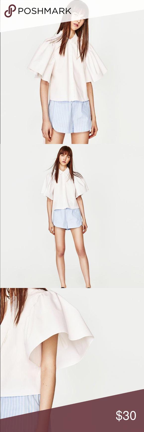 de7e59fc302ef NWT Zara White Puff Sleeve Tie back Top Hip-length shirt with lapel collar  and short