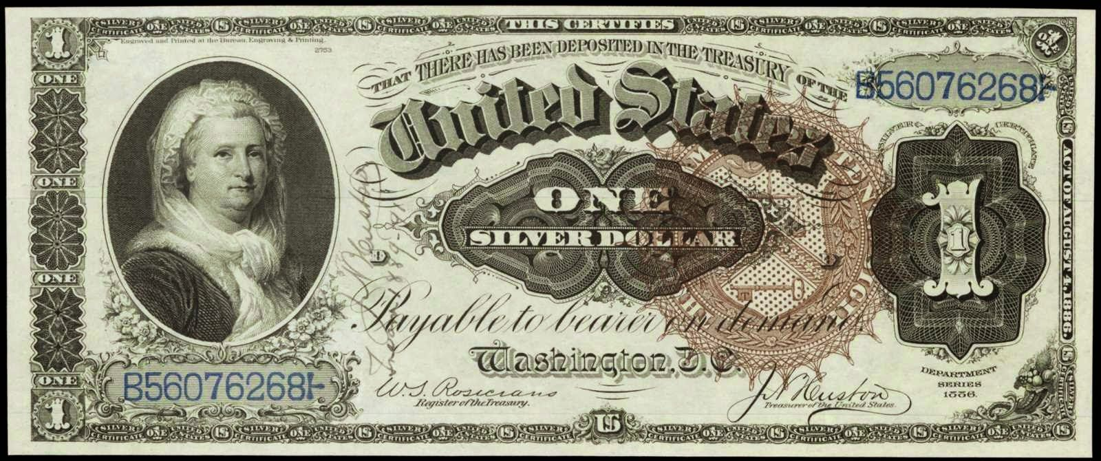 Paper money of the united states 1886 one dollar silver paper money of the united states 1886 one dollar silver certificate martha washington note xflitez Gallery