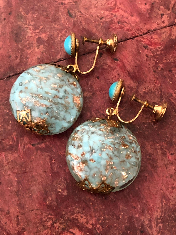 1930s Vintage Murano Glass Drop Earrings Venetian Glass Art Glass Earrings Italian Glass Screw In 2020 Vintage Costume Jewelry Glass Drop Earrings Murano Glass Jewelry