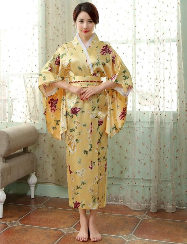 b5774d87bc ... best authentic 5350e 23f48 Satin Silk Robes Women Bathrobes Long  Dressing Gown Flora Silk Pajamas Robe ...