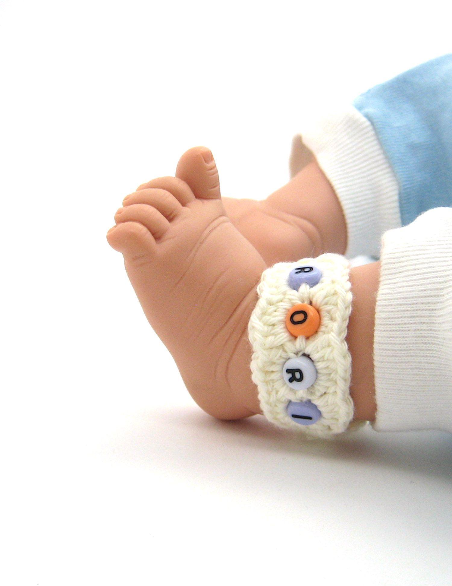 Anklets Monogram From Organic Cotton  Newborn ID Bracelet  Choose Color