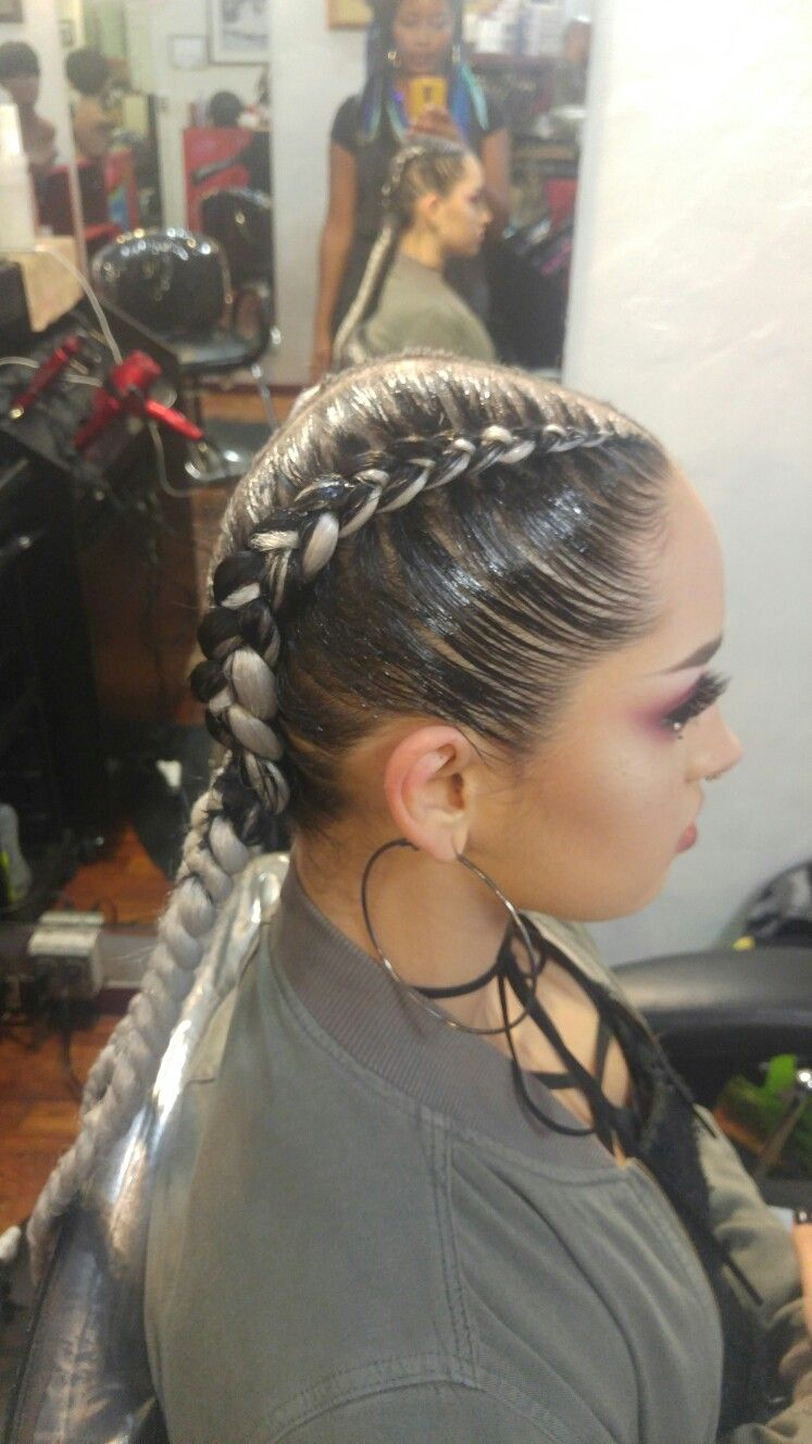 2 tone progressive aka feed in braids with silver hair. 2