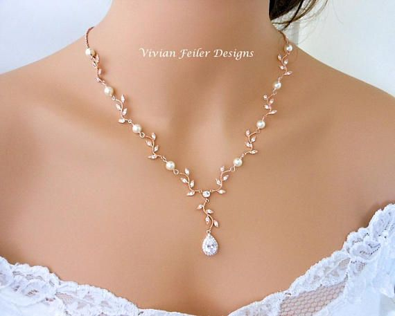 Wedding Necklace Pearl Rose Gold Y Bridal VINE LEAF BACKDROP Cubic Zirconia Maid of Honor Mother of the Bride