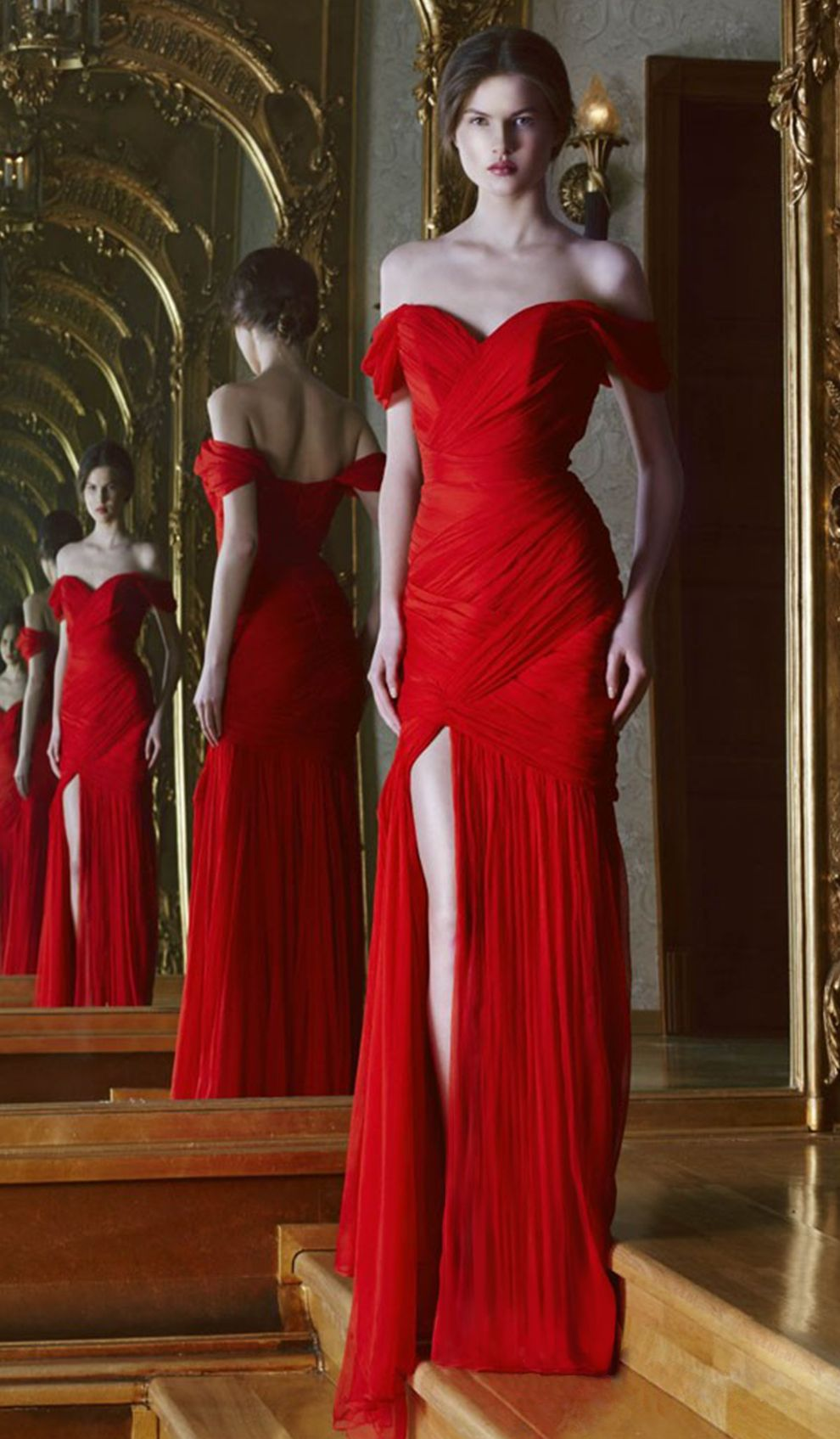 Cristallini Off-the-shoulder Red Gown   Designer Dress Hire and Prom ...