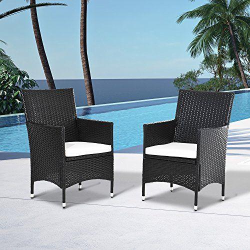 Outsunny 2 PC Outdoor Rattan Armchair Dining Chair Garden Patio ...