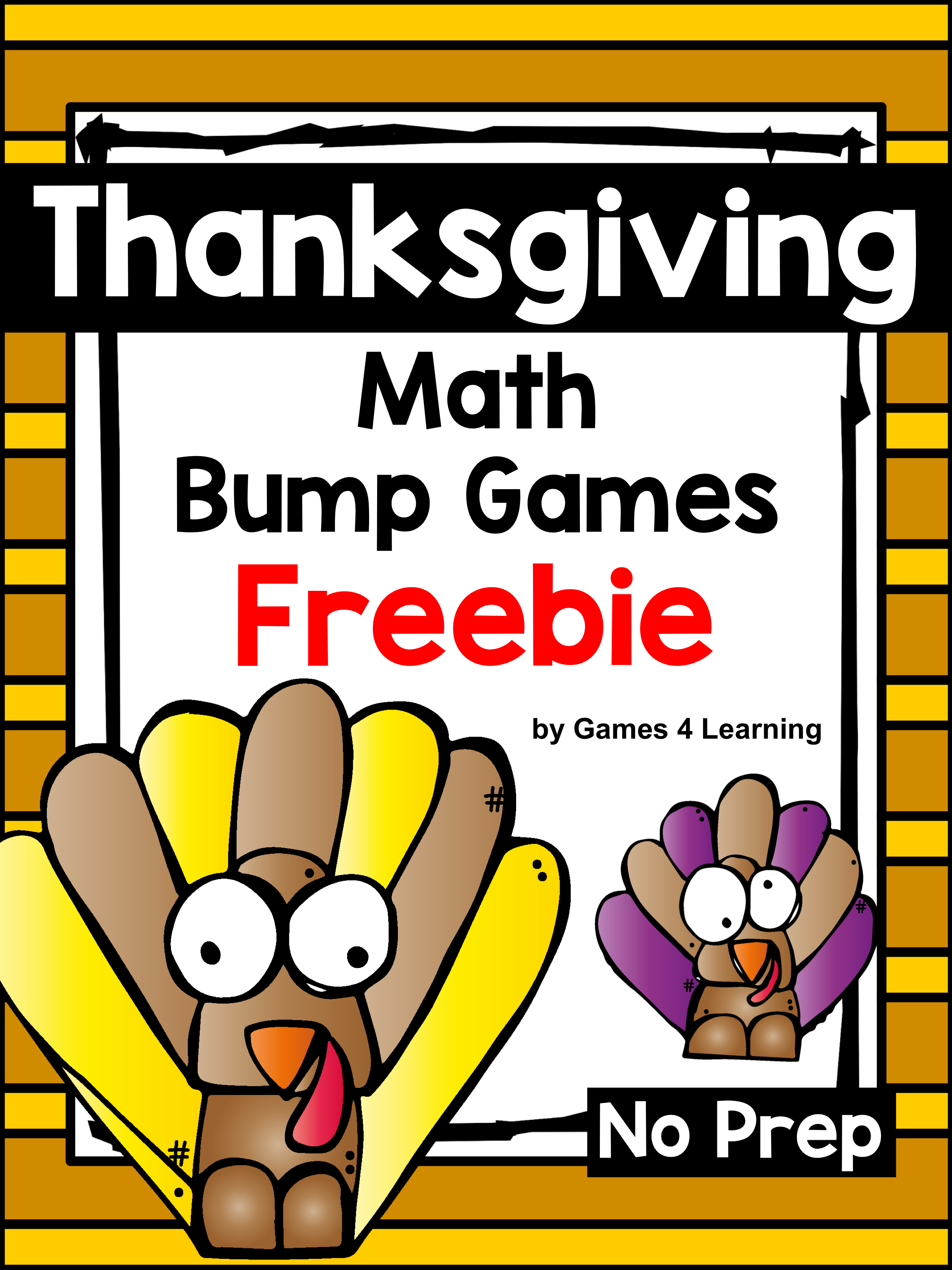 Free Thanksgiving Math Activities Bump Games