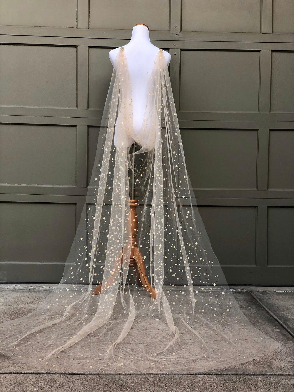 Gold Star Celestial Draped Wedding Cape Veil Bridal Cape With Etsy Wedding Dresses Wedding Cape Veil Bridal Cape