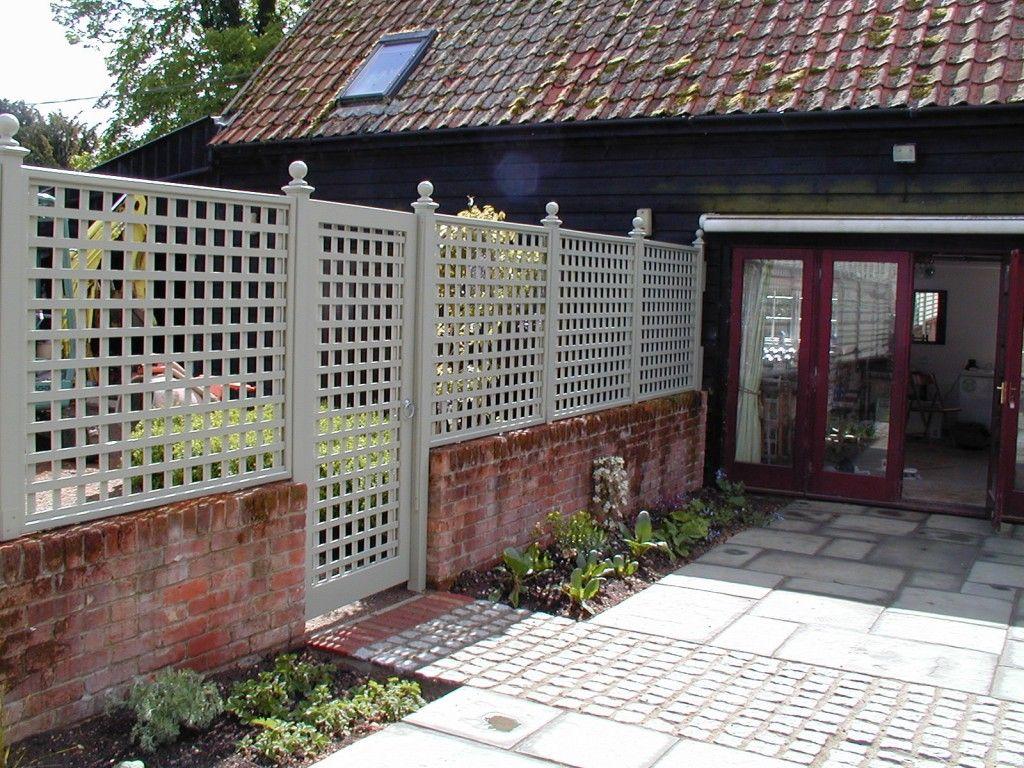 Beautiful Painted Trellis Ideas Part - 12: Painted Trellis Garden Divide