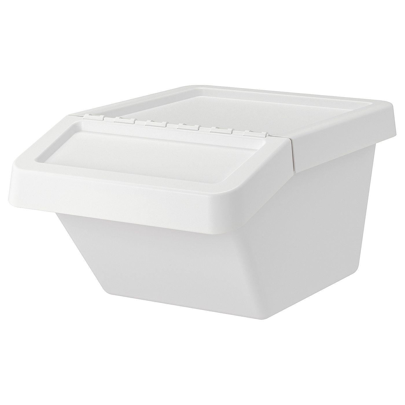 Sortera Conteneur Dechets Avec Couvercle Blanc 37 L En 2020 Bacs De Recyclage Conteneur Couvercle
