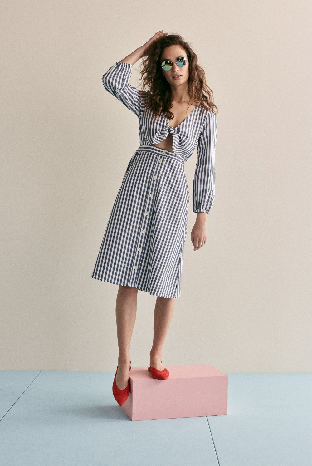 39488bc3a474 madewell shimmer stripe cutout midi dress worn with the ava slingback flat  + fest aviator sunglasses.