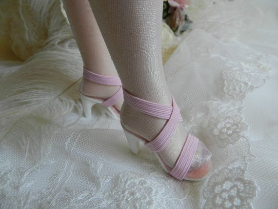 18 Miss Revlon Pink High Heel Elastic Doll Shoes  by CottageGreen