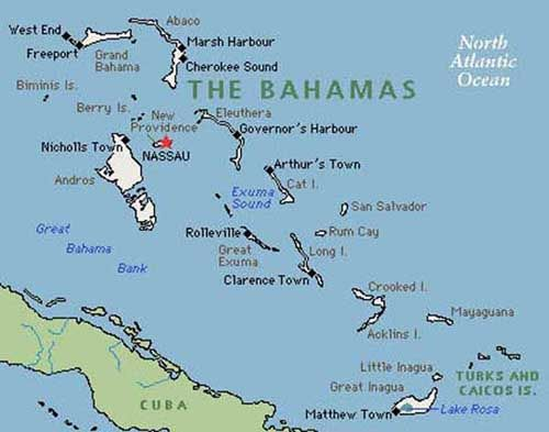 Nassau Is Bordered By Many Countries Including Cuba To The South - Bahamas country political map