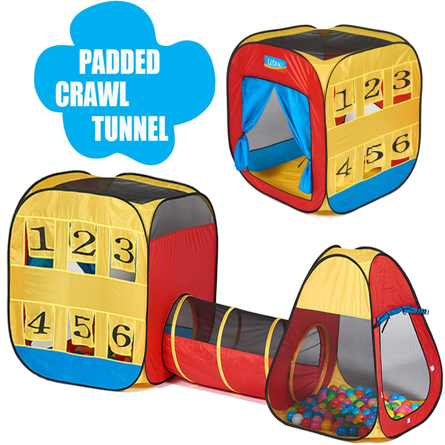 UTEX 3pc Kids Play Tent with Padded Crawl Tunnel u2013 Children Playhouse for Boys Girls  sc 1 st  Pinterest & UTEX 3pc Kids Play Tent with Padded Crawl Tunnel u2013 Children ...