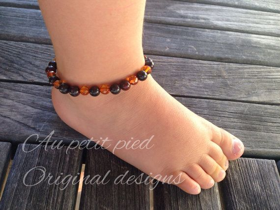Amber And Bloodstone Teething Ankle Bracelet On Etsy 32 00