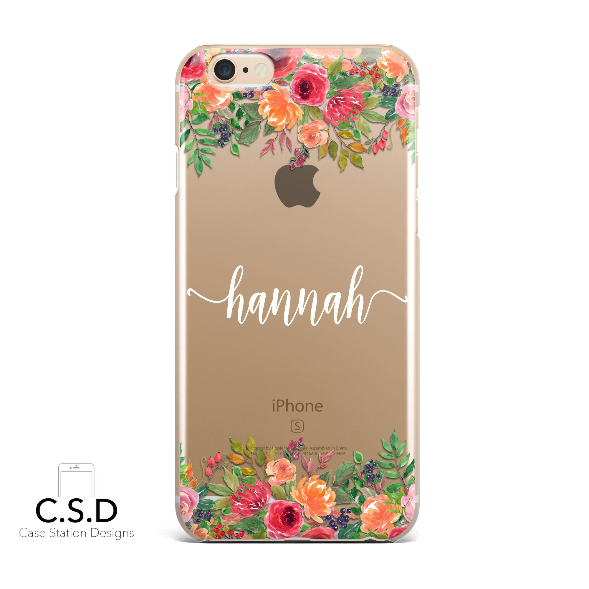 e8772366e1 Personalised Name Floral Clear Phone Case for iPhone X 8 Plus 7, 6, 6s Cell  Phone Cover Clear and Frosted Transparent by CaseStationDesigns on Etsy