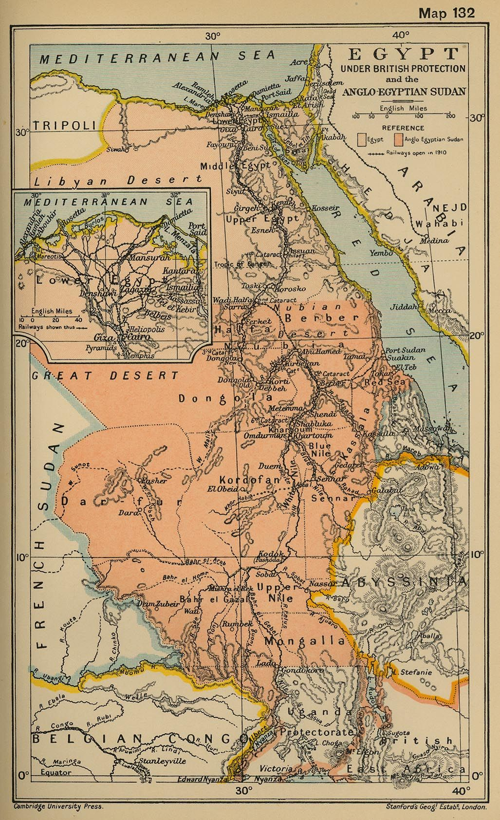 Egypt i like old maps stuff i like pinterest history history map of egypt under british protection and the anglo egyptian sudan illustrating railways open in inset lower egypt gumiabroncs Image collections