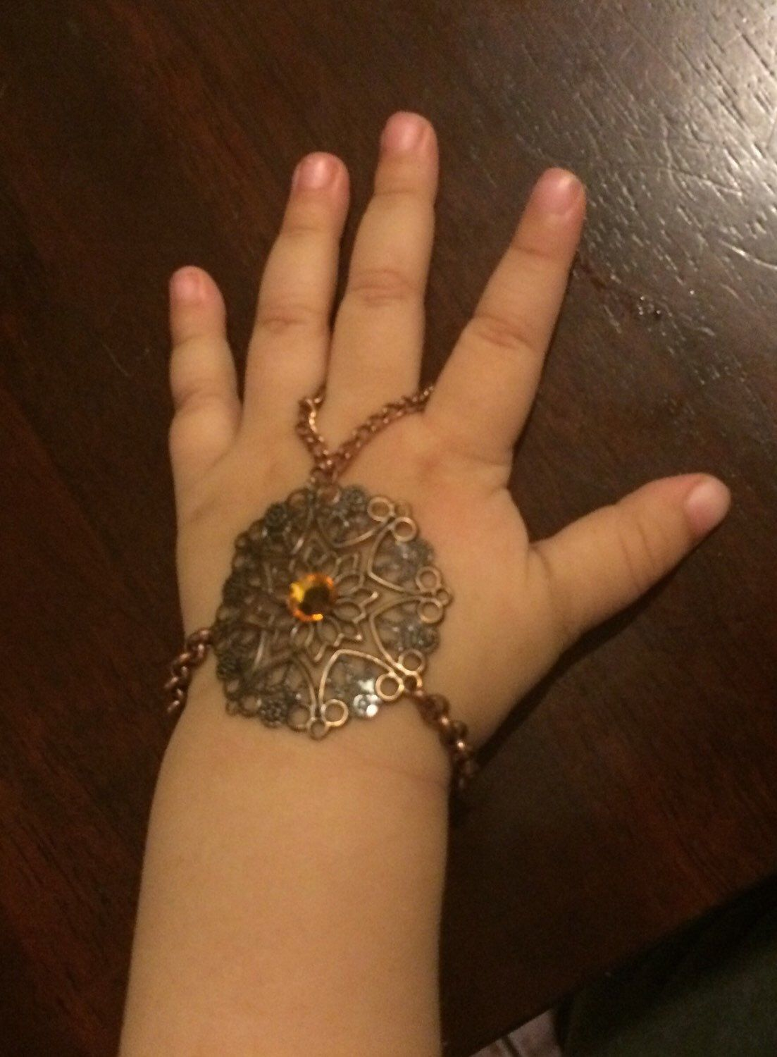 Baby girl slave bracelet or hand harness w/ring copper metal made ...