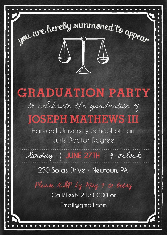 Printable Chalkboard Style Law School Graduation Party Invitation by