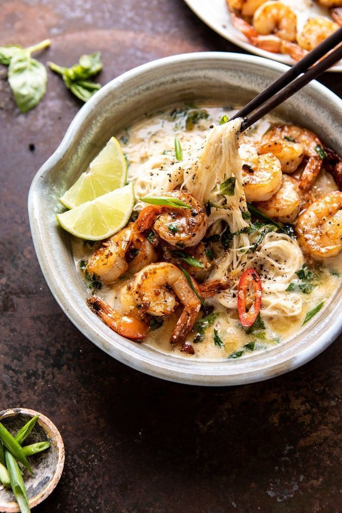 Saucy Garlic Butter Shrimp with Coconut Milk and Rice Noodles. - Half Baked Harvest