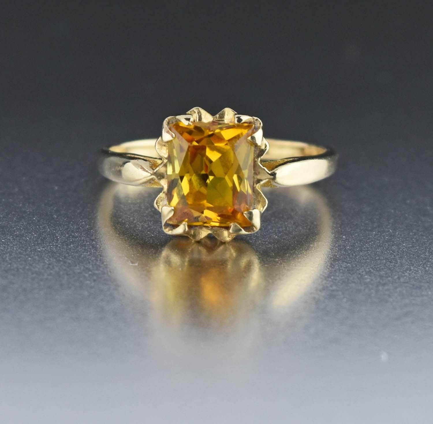 Vintage 10k Gold Yellow Citrine Ring With Images Yellow Citrine Ring Gold Citrine Engagement Ring Citrine Ring