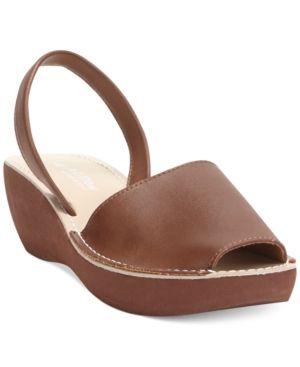 e405971903 Kenneth Cole Reaction Women's Fine Glass Platform Wedge Sandals - Brown 7.5M