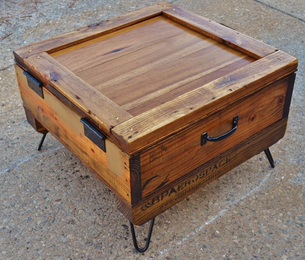 repurposed upcycled shipping crate rustic coffee table storage - Garden Furniture Crates
