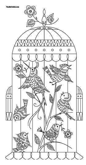Birds in cage // Pájaros en jaula | paginas para colorear | Bordado ...
