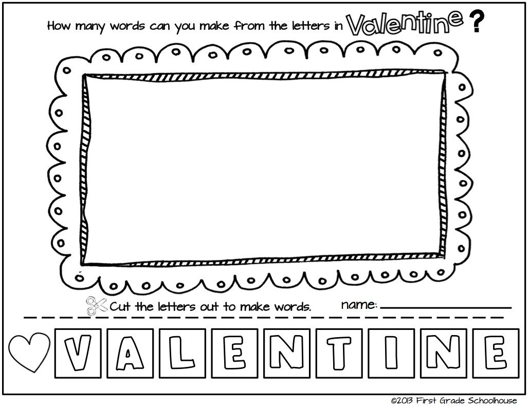 I Love Valentine's Day Literacy Activities. First grade literacy activities  with a Valentine's Day theme.   Valentines school [ 790 x 1027 Pixel ]