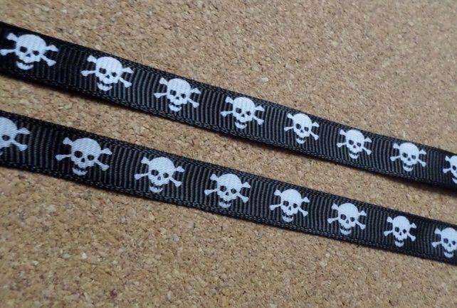 3m Ribbon - Printed Grosgrain - 9mm - Skull & Crossbones - Black