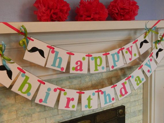 Mustache Birthday Party Banner-Mustache Party Decorations- Girls Birthday Garland- Adult or Kids Birthday Banner- You Pick the Colors on Etsy, $34.00