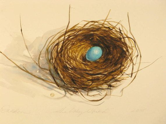 One Of A Kind Original Watercolor Painting Of A Robins Nest With A