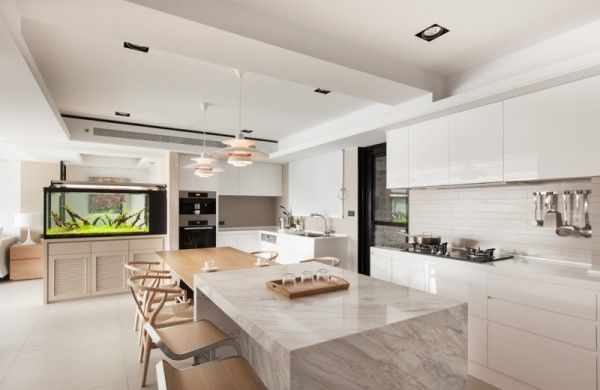 stadt-weiß und schwarz-modern apartment interior design: offene ... - Wohnideen Weiss Farben Modern Interieur