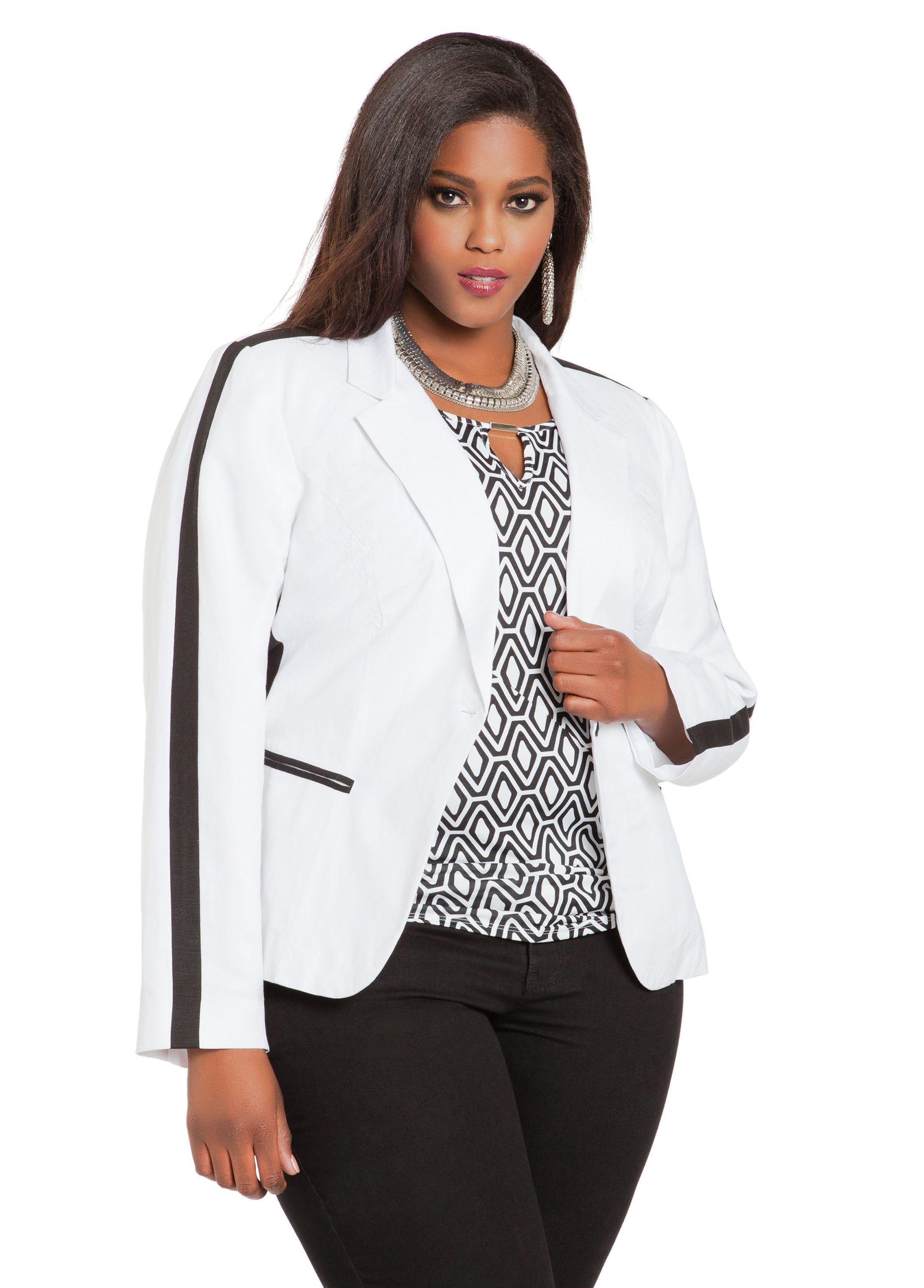 ashley stewart white black blazer   curvy fashions   pinterest