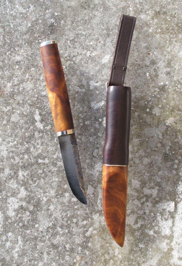 Black Alder Burl Nickel Silver Leather Zone Hardened 1080 Steel Knife Sheath Knife Hunting Knife