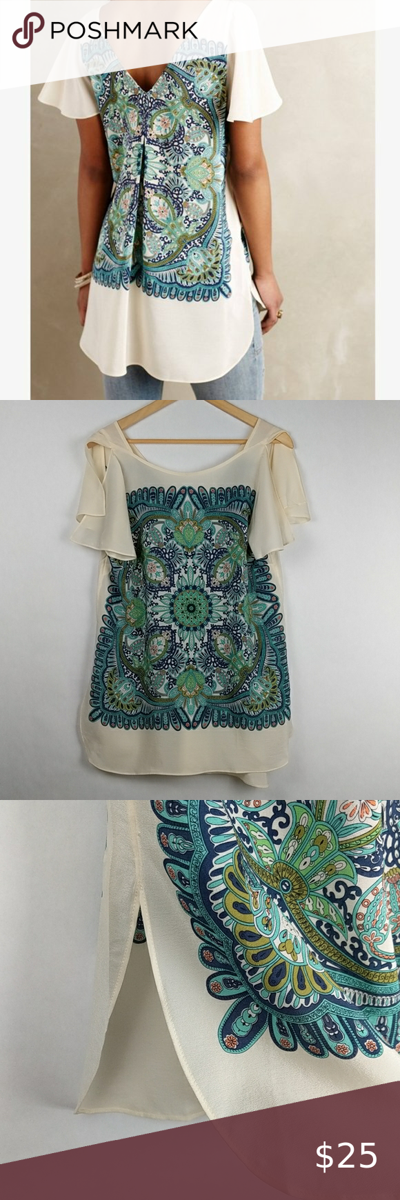 """Maeve Anthropologie Paisley Silk Tunic Blouse M Maeve for Anthropologie White silk tunic blouse with blue and green paisley design on front and back Scoop neck front, v-neck back Loose, ruffle sleeves Slit on both sides of hem Small hole on back of left sleeve, see last photo for details Size Medium  Approximate Measurements Laying Flat Pit to Pit: 19"""" Length: 29.5""""  A0429 Anthropologie Tops Blouses"""