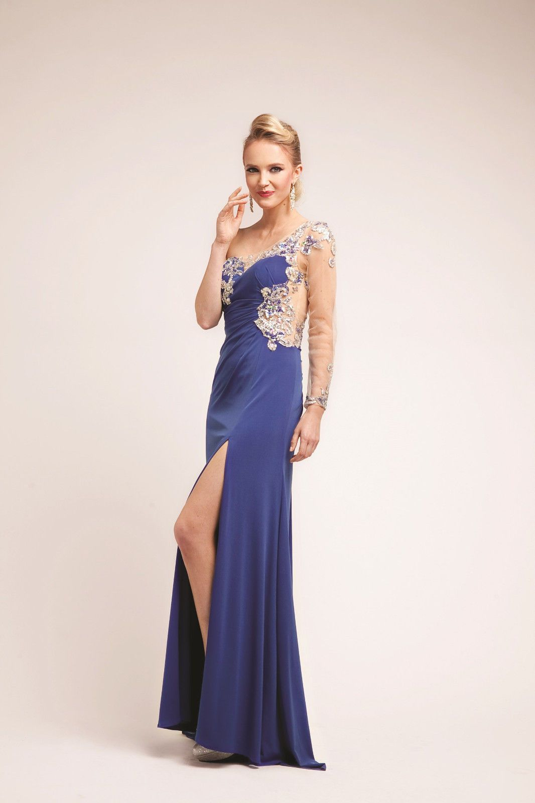 Sexy unique one shoulder beaded illusion prom dress products