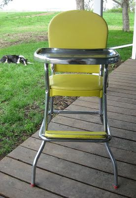 cosco baby chair leather work vintage high chair, 1960's....we had a white one similar to this for our children...mid ...